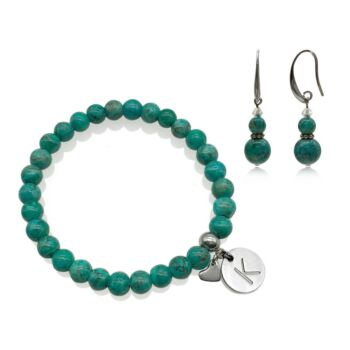 African Jasper Turquoise Colour Natural Gemstone Personalized Stainless Steel Initial Letter Charm Bracelet & Earring Set.