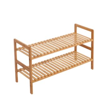 Sherwood Home 2-Tier Essential Natural Bamboo Shoe Rack Light Brown 70x27x40cm